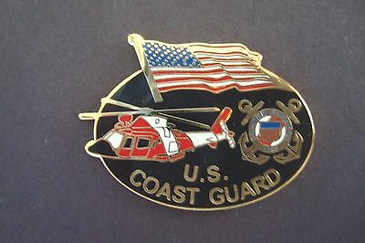 United States COAST GUARD Emblem Helicopter and U.S. Flag HAT PIN LAPEL PIN