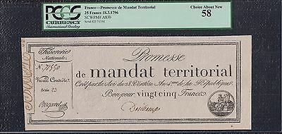 PCGS 25 Francs Mandat Territorial from France 18.3.1796 Choice About New 58