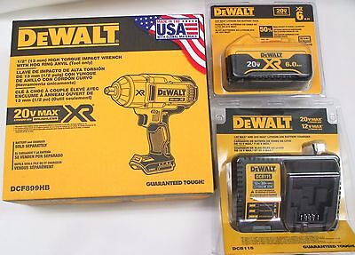 "DeWALT DCF899HP1 NEW 6.0Ah 20v MAX XR 1/2"" Brushless Impact Wrench Kit"