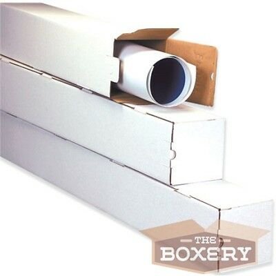 3x3x25 White Corrugated Square Mailing Tubes 50/cs from The Boxery