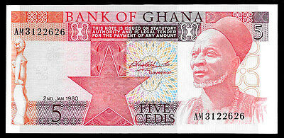 World Paper Money - Ghana 5 Cedis 1980 P19b @ Crisp UNC