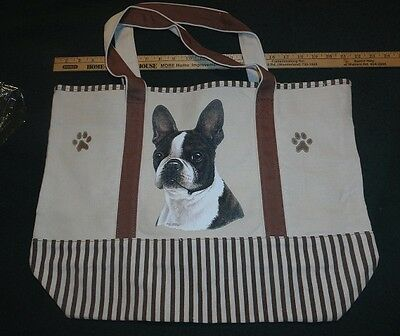 Boston Terrier Large Canvas Tote Bag