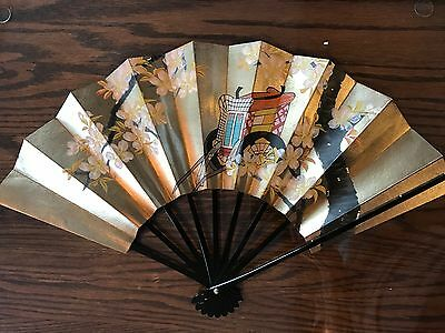 Ladies Folding Hand Fan  Paper and Wood multi color floral Asian design