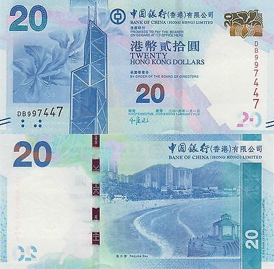 Hong Kong (BOC) 20 Dollars (1.1.2014) - Bank Building/Bay Scene/p341d UNC