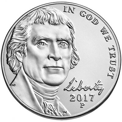 2017 P Jefferson Nickel. Choice BU From Bank Roll in a 2X2 holder