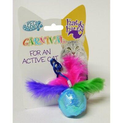 Pet Brands Crinkle Ball Cat Toy With Feathers