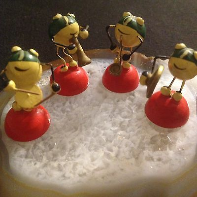 Miniature Hand Painted Wooden Frog Band -Vintage Italy/Drums/Saxophone