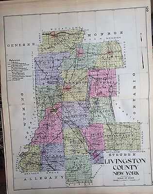 1912 Livingston County New Century Atlas Map Counties Of The State Of Ny 24X36