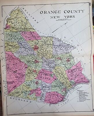 1912 Orange County New Century Copy Atlas Map Counties Of The State Of Ny 24X36