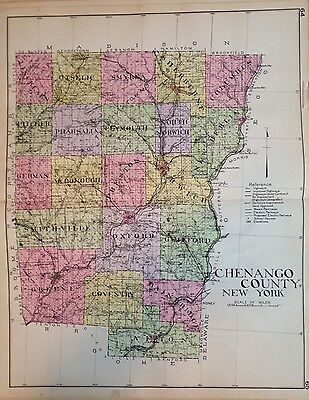 1912 Chenango County New Century Atlas Map Of Counties Of The State Of Ny 24X36