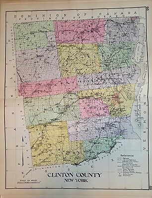 1912 Clinton County New Century Copy Atlas Map Counties Of The State Of Ny 24X36