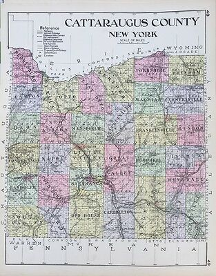 1912 Cattaraugus County New Century Atlas Map Counties Of The State Of Ny 24X36