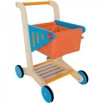 NEW Hape Children's Wooden Supermarket Toy Shopping Trolley Cart