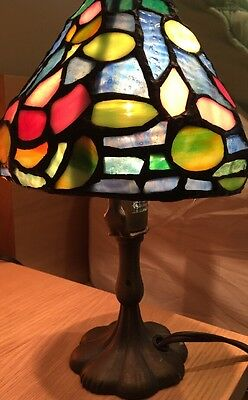 Tiffany Style Stained Glass Colorful Table Lamp Light Handcrafted Vintage Shade