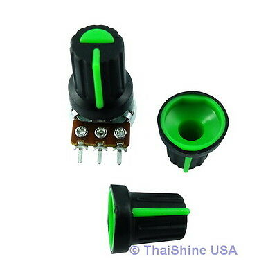 5 x Black Knob with Green Pointer - Soft Touch - USA Seller - Free Shipping