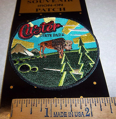 Custer State Park South Dakota embroidered iron on patch, colorful round patch