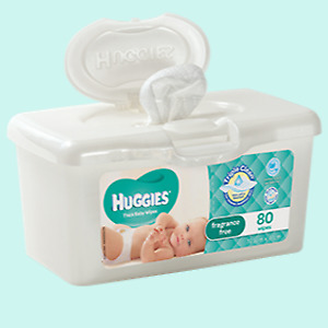 New 80 Pieces Huggies Hypoallergenic Baby Wipes Tub Gentle & Fragrance Free