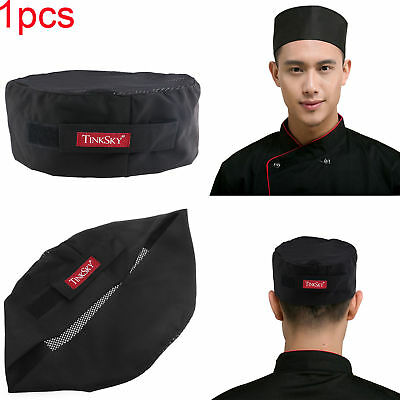 Black Catering Top Skull Cap Professional Chefs Hat w/ Adjustable Strap One Size