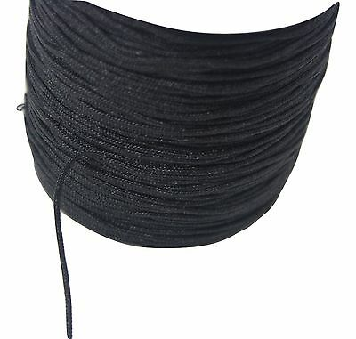 10m x 1.5mm braided nylon cord Black for DIY crafts, jewellery