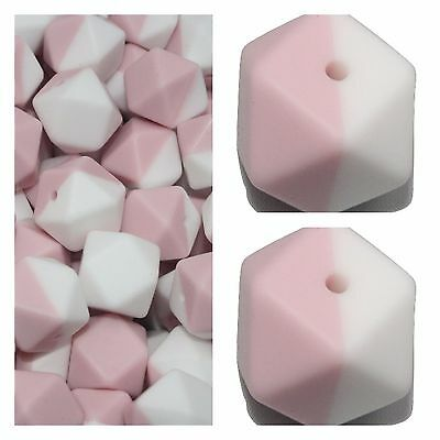 Loose Silicone Beads 17mm BPA Free pink quartz and white  x10 Hexagon  chew