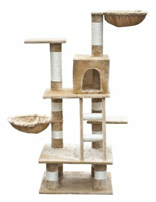 Cat Tree 122 Beige Pet Scratcher Post Poles Scratching House Gym Condo Furniture