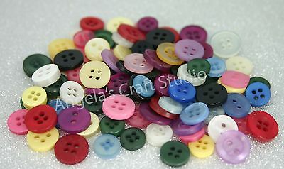 100 SMALL MIXED COLOURS New Buttons - Great for Sewing Craft Cards Scrapbooking