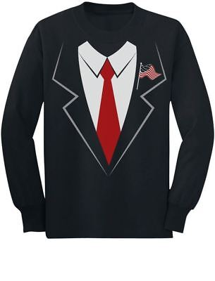 Donald Trump Suit & Tie Easy Halloween Costume Youth Kids Long Sleeve T-Shirt