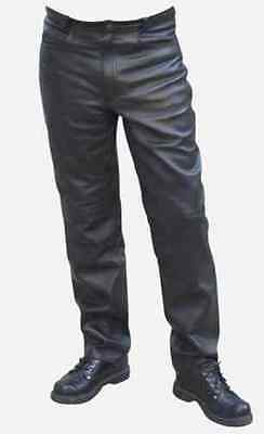 Mens Motorcycle Leather Jean Pants Trouser Waist All Sizes