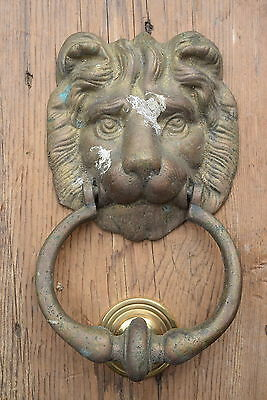 Vintage Reclaimed Brass Lions Head Door Knocker old pull front bell knobs