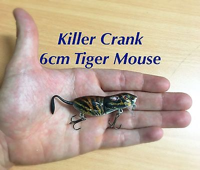 6cm Killer Crank Tiger Mouse Surface Bass/Cod Fishing Lure