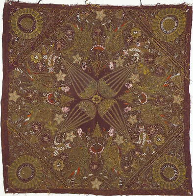 EARLY19th Cent. OTTOMAN-TURKISH GOLD METALLIC THREAD EMBROIDERY BALLOON TAPESTRY