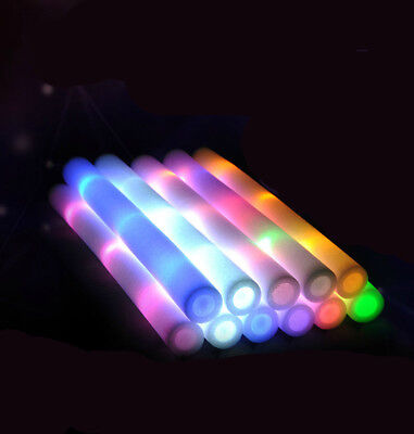5pcs Light Up Foam Sticks LED Wands Rally Rave Batons DJ Flashing Glow Stick