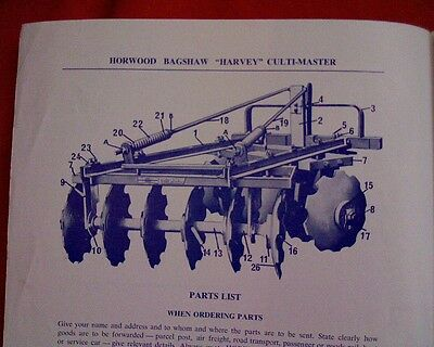Horwood Bagshaw Harvey Culti Master disc plow plough Owner operator instructions