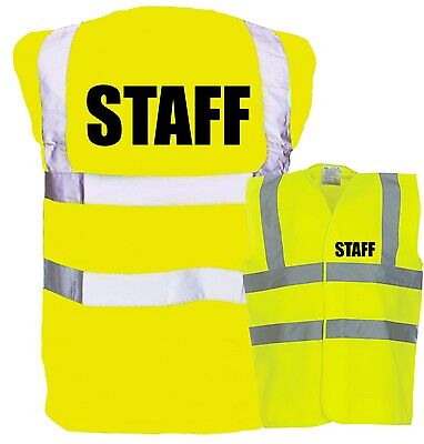 Staff Printed Yellow Enhanced Safety Vest High Vis Festival Concert Work Job