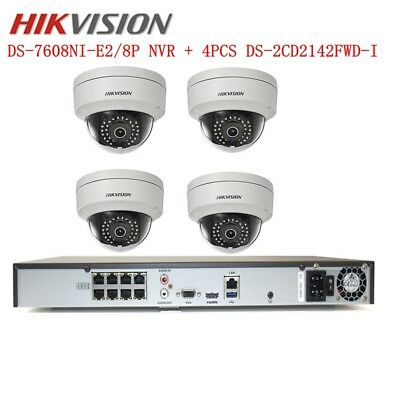 HIKVISION 8CH CCTV Security System Kit DS-7608NI-E2/8P 4MP POE IR Camera