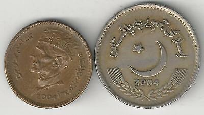 2 DIFFERENT COINS from PAKISTAN - 1 & 2 RUPEES (BOTH DATING 2004)