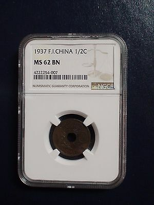 1937 French Indo China Half Cent NGC MS62 BN 1/2C COIN PRICED TO SELL NOW!