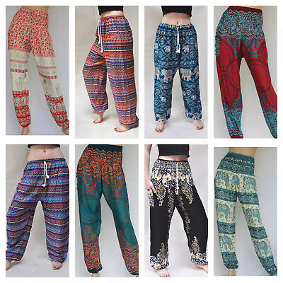 (Uk) Harem Pants / Trousers Thai Aladdin Baggy Boho Festival Hippie Plus Size