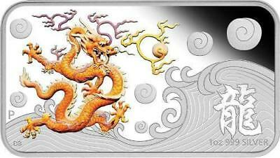 Cook Islands 2012 $1 Year of the Dragon - Yellow 1oz Silver Proof Rectangle Coin