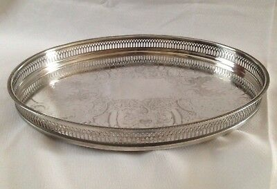 """Large Vintage Cavalier Silver Plate Gallery Tray with Bun Feet 16.1/2"""" x 12.3/4"""""""