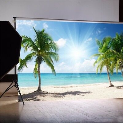 7X5FT Palm Vinyl Tree Summer Beach Backdrop Photography Background Studio Props