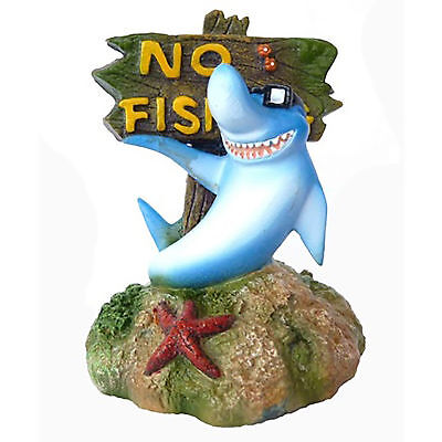Supa No Fishing Sign Shark Aquarium Ornament