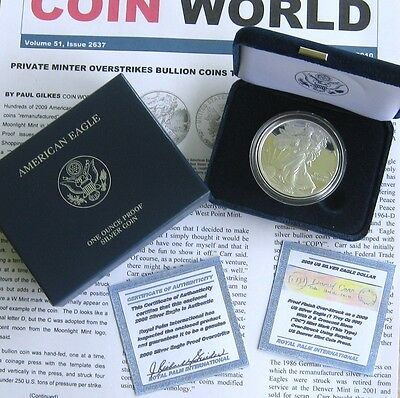 """2009 Silver Eagle Overstrike Proofed ~ Thin """"dc"""" Proof ~ Coa & Coin World Excerp"""