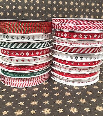 Thin 9MM Merry Christmas Ribbon Craft Gift Wrapping Ribbons 1 , 2 or 3 Metres