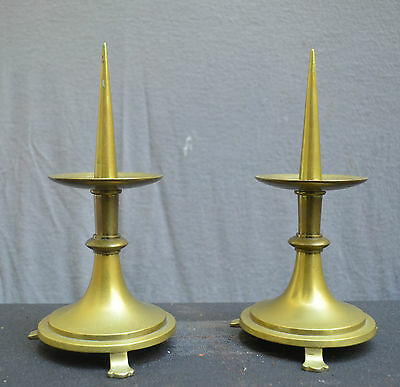 A pair of nice quality bronze candlesticks 19th Century Dutch early Gothic style