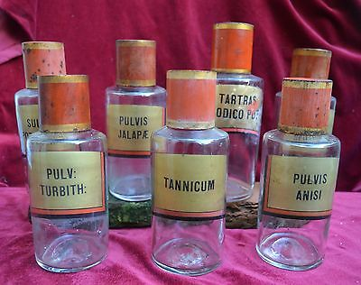 7 Authentic 19th century Pharmacists glass bottles with label, French.