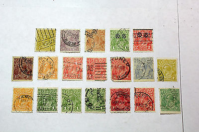 Lot of 19 Australia  Postal  Postage Stamps Early George V  Collection  AUS012