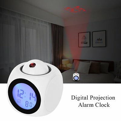 Projection Digital LCD Snooze Alarm Desk Clock Display LED Backlight Thermometer