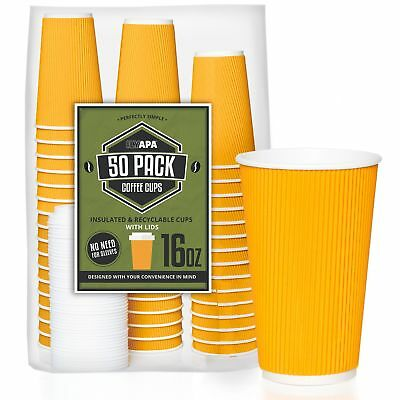 50 Pack - 16 oz To Go Coffee Cups with Lids - Disposable, Insulated & Recycla...