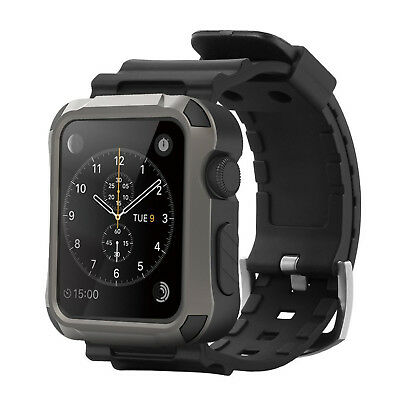 Grey Rugged Protective Case with Black Strap Bands for Apple Watch Accessory NEW